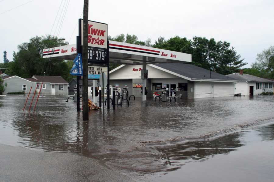 flooded Kwik Star Gas station