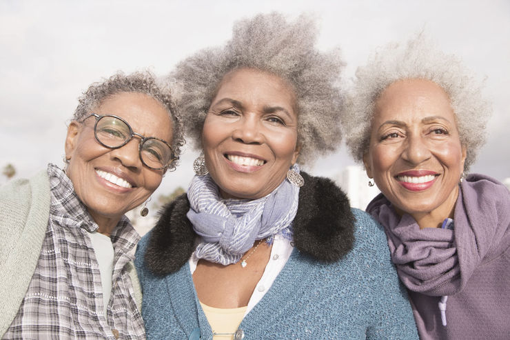 Smiling African American elderly women with senior benefits in Omaha, NE